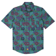 Men Others Printed - Men Chambray Bowling Shirt, Water green front