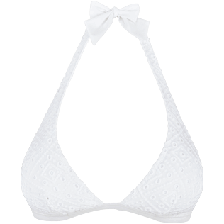 Women Halter Embroidered - Women Triangle Bikini Top Eyelet Embroidery, White front