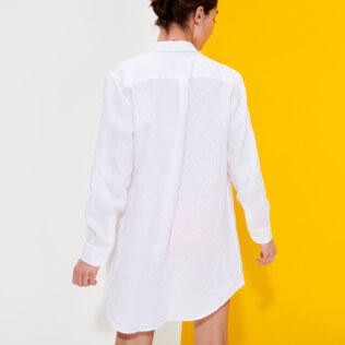 Women Others Solid - Women Long Linen Shirt Solid, White backworn