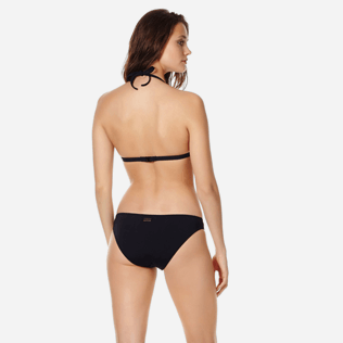 Women Classic brief Solid - Women midi brief bikini Bottom Pois Lazer Cut, Black backworn