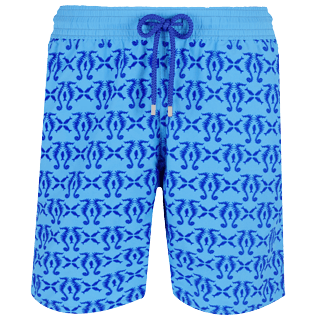 Men Long classic Printed - Men Swimwear Flocked Hippocampes, Swimming pool front