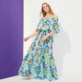 Women Others Printed - Women Cotton Off the Shoulder Long Dress Kaleidoscope, Lagoon frontworn
