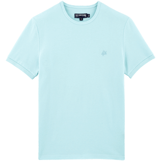 Men Tee-Shirts Solid - Solid Round neck cotton pique Tee-Shirt, Frosted blue front