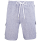 Men Others Graphic - Men Cargo Linen Bermuda Shorts Micro Rayures, Ultramarine front