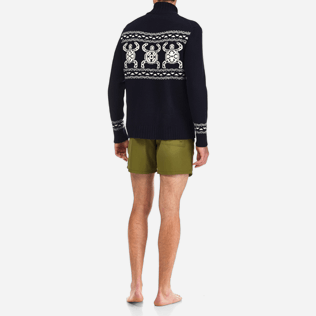 Men Sweaters Printed - Italian merino/cashmere sweater , Navy backworn