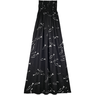 Women Dresses Printed - Women Long Bustier Cotton Voile Dress Fish Dance, Black back