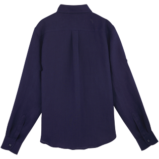 Women Others Solid - Women long sleeves Linen Shirt Solid, Navy back