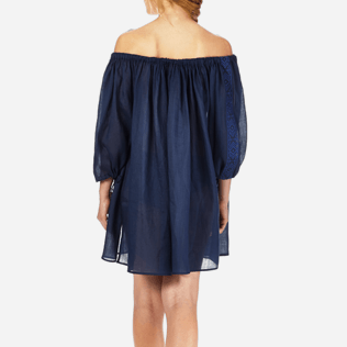 Women Dresses Embroidered - Women Off shoulder Linen Voile Dress Solid, Navy supp2