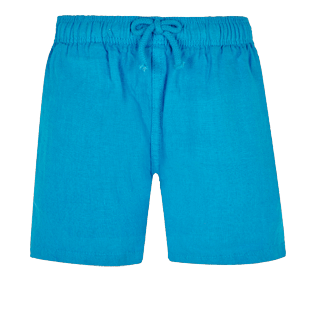Boys Others Solid - Linen Boys Shorts Bermuda Solid, Hawaii blue front