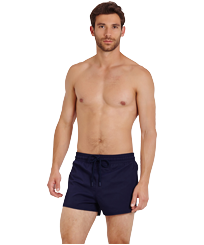 Men Short classic Solid - Men Swimwear Short and Fitted Stretch Solid, Navy frontworn
