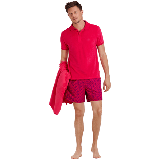 Men Others Solid - Men Terry Cloth Polo Shirt Solid, Gooseberry red supp2