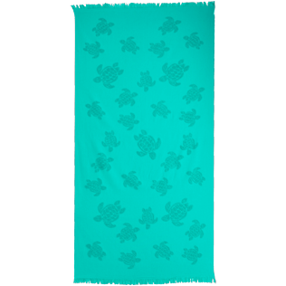 Towels Liso - Futa con flecos y estampado Turtles, Veronese green front
