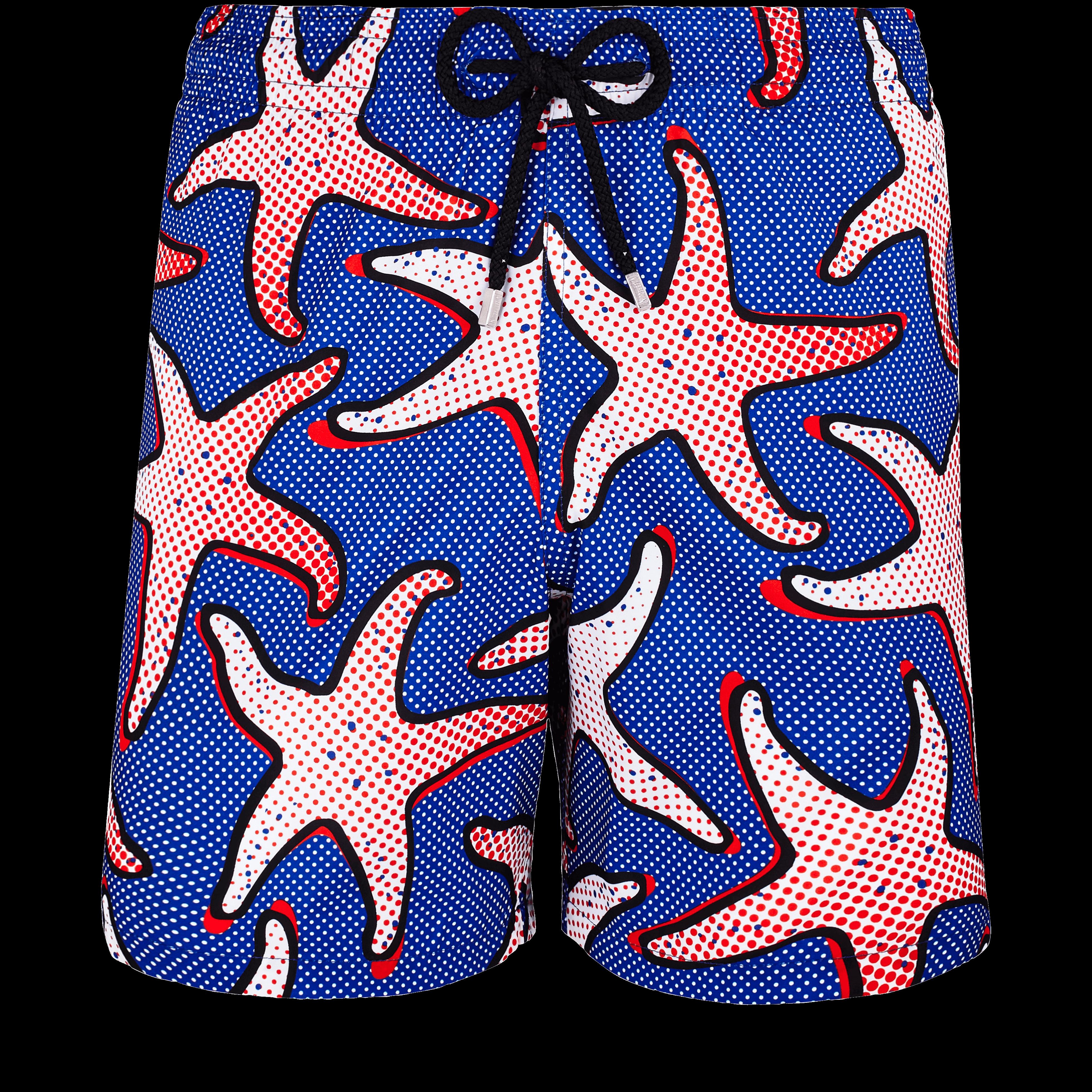 Men Swimwear - Men Lightweight And Packable Swimwear Starfish Art - Swimming Trunk - Mahina in Blue