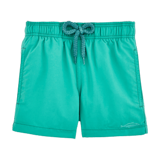 Boys Classic / Moorea Printed - Water-reactive Sardines à l'Huile Swim Shorts, Veronese green front