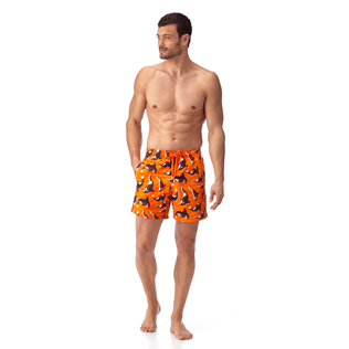 Men Classic / Moorea Embroidered - Galak Embroidered Swim shorts, Papaya frontworn