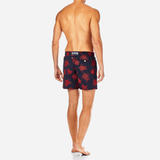 Men Embroidered Embroidered - Vilebrequin Turtles All Over Embroidered Swim shorts, Navy backworn