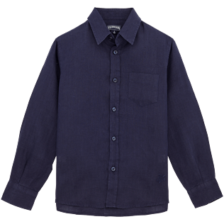 Boys Shirts Solid - Linen Shirt, Navy front