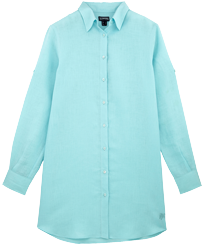 Women Others Solid - Women Long Linen Shirt Solid, Frosted blue front