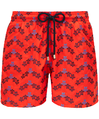 Men 017 Embroidered - Men Swim Trunks Embroidered - Limited Edition, Poppy red front