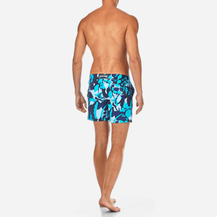 Men Flat belts Printed - Camouflage Turtles Fitted cut Swim shorts, Azure backworn