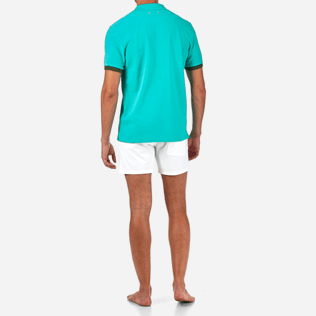 Men Polos Solid - Solid Cotton pique polo, Veronese green backworn