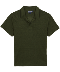 Men Others Solid - Men Linen Jersey Polo Shirt Solid, Pepper front
