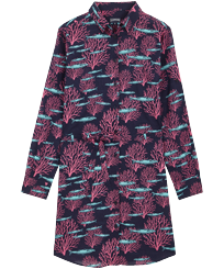 Women Others Printed - Women Cotton Voile Shirt Dress Coral & Fish, Navy front