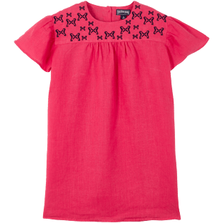 Girls Others Embroidered - Linen Girls Dress Hippocampes, Gooseberry red front