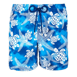 Men Classic Printed - Men Swimtrunks Starlettes & Turtles Vintage, Neptune blue front