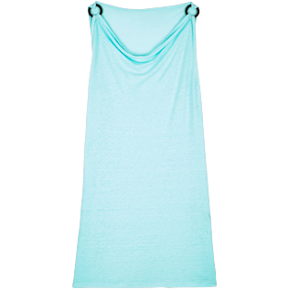 Women Others Solid - Women Cowl neck Linen Jersey Dress Solid, Lagoon front