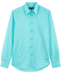 Others Solid - Unisex Cotton Voile Light Shirt Solid, Lazulii blue front