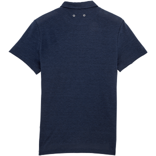 Men Others Solid - Solid Linen jersey polo, Navy back