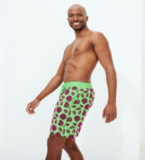 Men Long classic Printed - Men Long Ultra-light and packable Swimwear Shell Game Flocked, Neon green frontworn