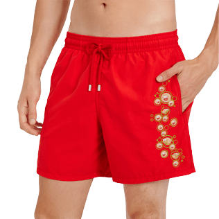 Men Classic Embroidered - Men Swimtrunks Placed embroidery Christmas Crackers, Medicis red supp1