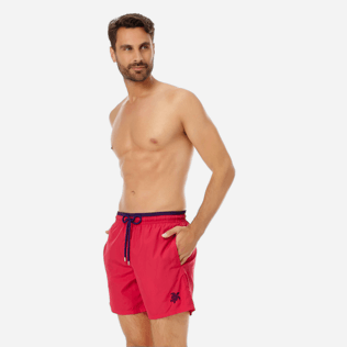 Men Ultra-light classique Solid - Men Ultra-Light and packable swimtrunks Solid Bicolor, Gooseberry red frontworn