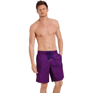 Men Long classic Printed - Men Swimtrunks Long Ultra-light and Packable Perspective Fish, Plum frontworn