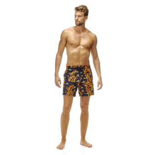 Men Classic / Moorea Embroidered - All Over Coral and Fish Embroidery Swimwear, Navy frontworn