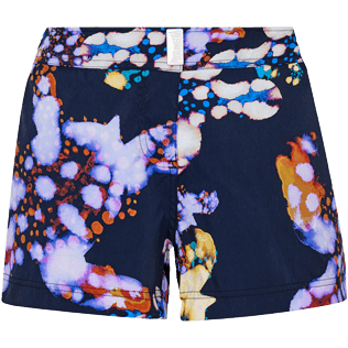 Donna Altri Stampato - Shorts mare donna Watercolor Turtles, Blu marine front