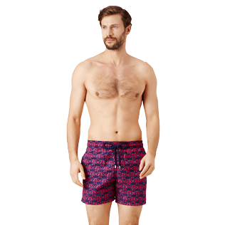 Men Classic Embroidered - Men Swim Trunks Embroidered Hippocampes - Limited Edition, Midnight blue frontworn