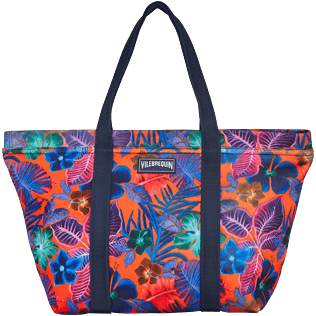 Others Printed - Water resistant big Beach Bag Porto Rico, Bright orange front
