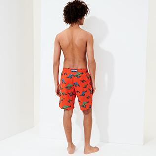 Hombre Clásico largon Estampado - Men Swimwear Long Turtle Swim, Nispero backworn