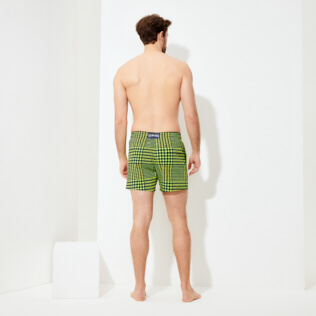 Men Stretch classic Printed - Men Swim Trunks Stretch Crocros, Grass green backworn