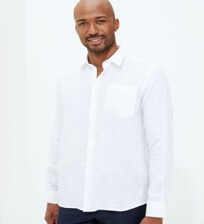 Men Others Solid - Men Linen Shirt Solid, White frontworn