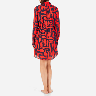 Women Dresses Printed - Silex Fishes Long dress shirt, Poppy red backworn