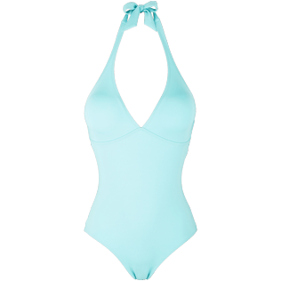 Women One piece Solid - Women Deep V One Piece Swimsuit Solid Water, Lagoon front