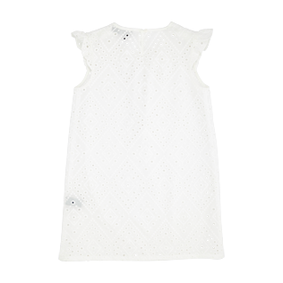 Girls Others Embroidered - Girls Cotton Dress Eyelet Embroidery, White back