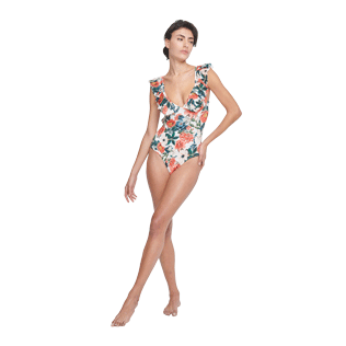 Women Long, Fitted Printed - Women One piece Swimsuit Tropical Blooms, White supp2