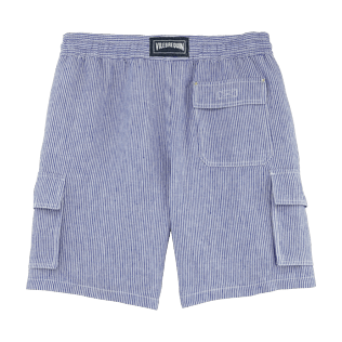 Boys Others Graphic - Stripped Linen bermuda shorts, Sky blue back