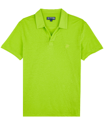 Men Others Solid - Men Linen Jersey Polo Shirt Solid, Lemongrass front