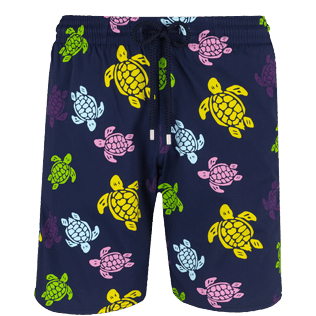 Men Long classic Printed - Men Swim Trunks Long Stretch Ronde des tortues, Navy front